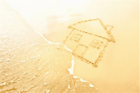 House in sand washed away by waves Stock Photo - Premium Royalty-Free, Code: 649-05521512