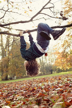 falling - Boy playing on tree outdoors Stock Photo - Premium Royalty-Free, Code: 649-05657650