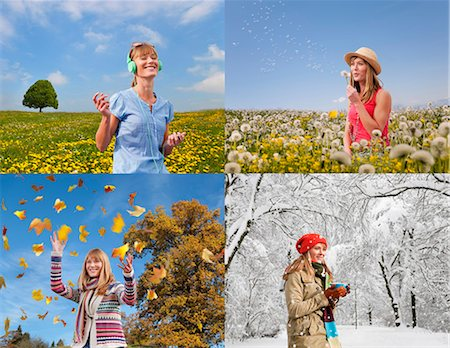 different - Four seasons of woman playing outdoors Stock Photo - Premium Royalty-Free, Code: 649-05657672