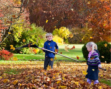 pile leaves playing - Children raking fall leaves Stock Photo - Premium Royalty-Free, Code: 649-05657687