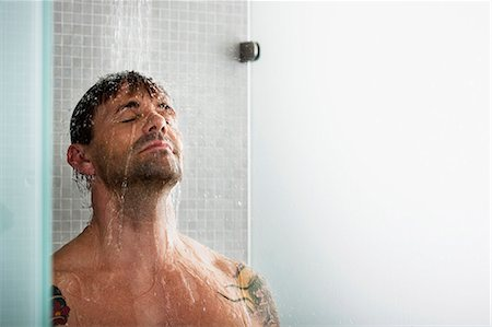 shower - Man washing his hair in shower Stock Photo - Premium Royalty-Free, Code: 649-05658180