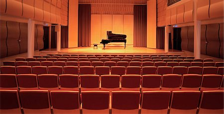 Piano on stage in empty theater Stock Photo - Premium Royalty-Free, Code: 649-05658313