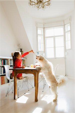 Girl feeding dog at table Stock Photo - Premium Royalty-Free, Code: 649-05800979