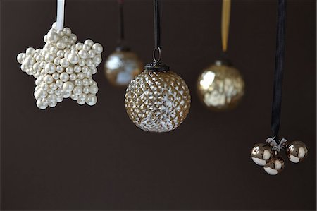 Close up of silver Christmas ornaments Stock Photo - Premium Royalty-Free, Code: 649-05801480