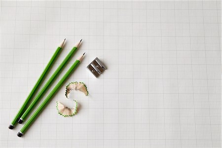 Pencils with sharpener and shavings Stock Photo - Premium Royalty-Free, Code: 649-05801500