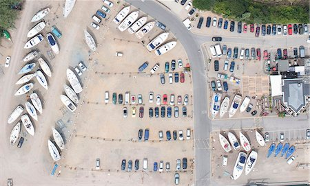 Aerial view of dock and parking lot Stock Photo - Premium Royalty-Free, Code: 649-05801684
