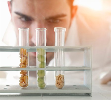 Scientist examining seeds in test tubes Stock Photo - Premium Royalty-Free, Code: 649-05802383