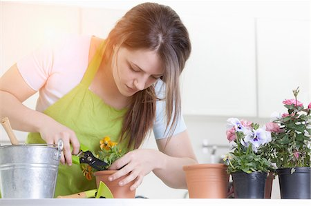 florist - Woman pruning potted plants indoors Stock Photo - Premium Royalty-Free, Code: 649-05802397