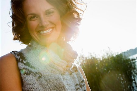 Close up of smiling womans face Stock Photo - Premium Royalty-Free, Code: 649-05819875