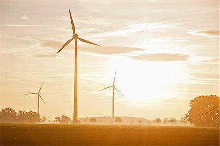Wind turbines in rural landscape Stock Photo - Premium Royalty-Free, Code: 649-05820245