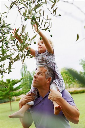 Father helping daughter pick fruit Stock Photo - Premium Royalty-Free, Code: 649-05950961