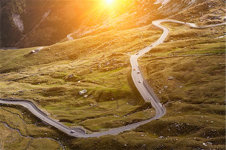 roads and sun - Aerial view of road in rural landscape Stock Photo - Premium Royalty-Free, Code: 649-05951311