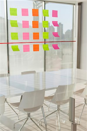 self adhesive note - Colorful sticky notes on office window Stock Photo - Premium Royalty-Free, Code: 649-06000968