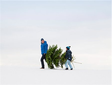 snow christmas tree white - Father and son carrying Christmas tree Stock Photo - Premium Royalty-Free, Code: 649-06001297