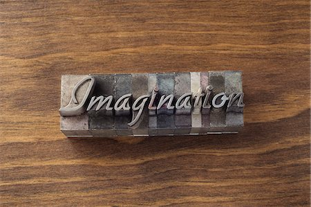 "Lead type spelling ""imagination"" Stock Photo - Premium Royalty-Free, Code: 649-06001438"