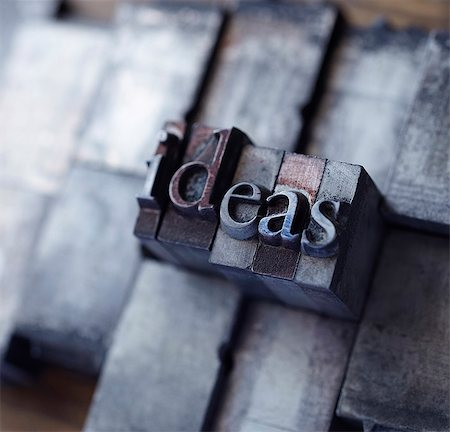 "stamped - Lead type spelling ""ideas"" Stock Photo - Premium Royalty-Free, Code: 649-06001430"