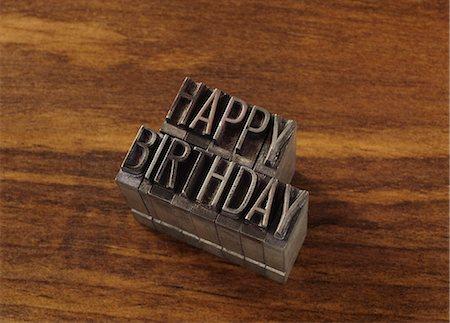 "stamped - Lead type spelling ""happy birthday"" Stock Photo - Premium Royalty-Free, Code: 649-06001433"