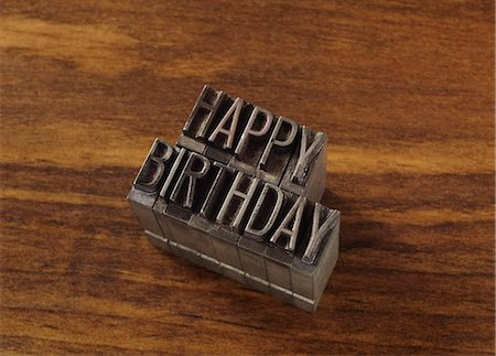 "stamped - Lead type spelling ""happy birthday"" Stock Photo - Premium Royalty-Free, Code: 649-06001433"