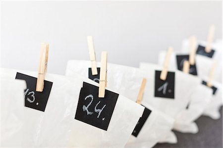 Close up of numbered bags Stock Photo - Premium Royalty-Free, Code: 649-06001804