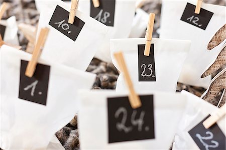 Close up of numbered bags Stock Photo - Premium Royalty-Free, Code: 649-06001803