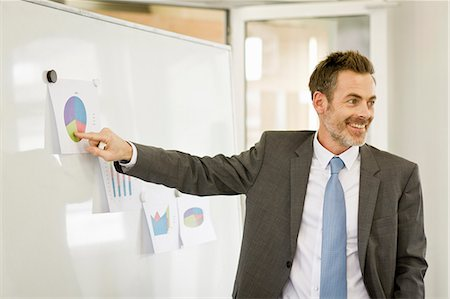 presentation (displaying) - Businessman tacking up posters in office Stock Photo - Premium Royalty-Free, Code: 649-06041294