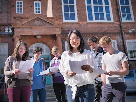 results - Students reading grades together Stock Photo - Premium Royalty-Free, Code: 649-06041606