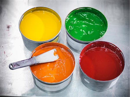 print - Buckets of colorful printing ink Stock Photo - Premium Royalty-Free, Code: 649-06041635