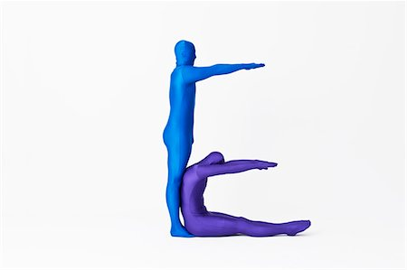flexible (people or objects with physical bendability) - Men in bodysuits making the letter E Stock Photo - Premium Royalty-Free, Code: 649-06041713