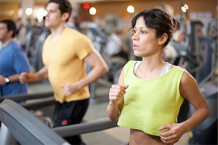 fitness older women gym - People using treadmills in gym Stock Photo - Premium Royalty-Free, Code: 649-06042026
