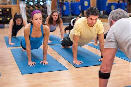fitness older women gym - People practicing yoga in studio Stock Photo - Premium Royalty-Free, Code: 649-06042045