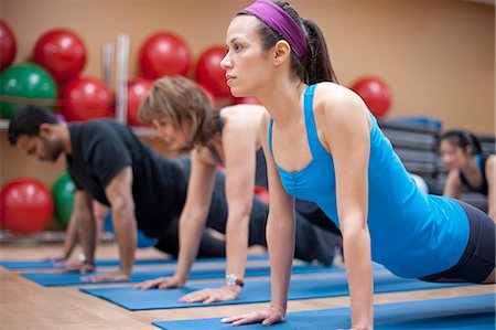fitness older women gym - People practicing yoga in studio Stock Photo - Premium Royalty-Free, Code: 649-06042054