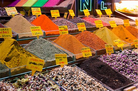 supermarket not people - Ground spices for sale at spice bazaar, Istanbul, Turkey Stock Photo - Premium Royalty-Free, Code: 649-06113025