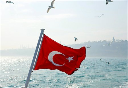 star - Seagulls flying over Turkey flag Stock Photo - Premium Royalty-Free, Code: 649-06113047
