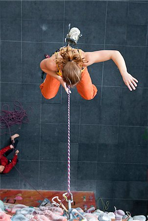 falling - Climber falling into the rope at climbers gym Stock Photo - Premium Royalty-Free, Code: 649-06113920