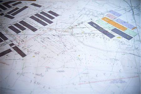 Close up of coal mine blueprints Stock Photo - Premium Royalty-Free, Code: 649-06164924