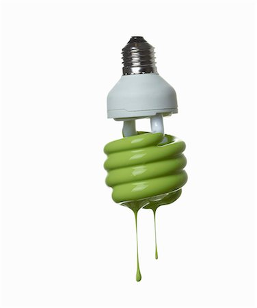 paint drips - Fluorescent light bulb dripping in green Stock Photo - Premium Royalty-Free, Code: 649-06165337
