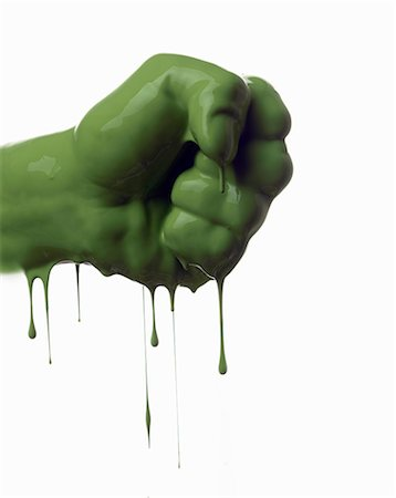 paint - Close up of dripping green fist Stock Photo - Premium Royalty-Free, Code: 649-06165331