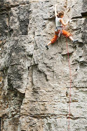rock climber - Climber scaling steep cliff face Stock Photo - Premium Royalty-Free, Code: 649-06306001