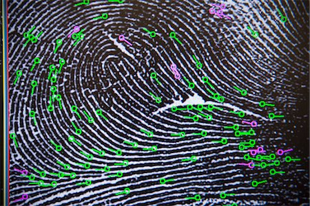 Fingerprint on screen in forensic lab Stock Photo - Premium Royalty-Free, Code: 649-06353095