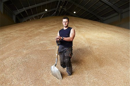Farmer standing in shed of grain Stock Photo - Premium Royalty-Free, Code: 649-06353313