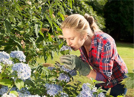 smelling - Woman smelling flowers in garden Stock Photo - Premium Royalty-Free, Code: 649-06400839