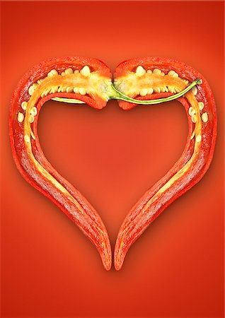 Close up of halved chili pepper Stock Photo - Premium Royalty-Free, Code: 649-06400885