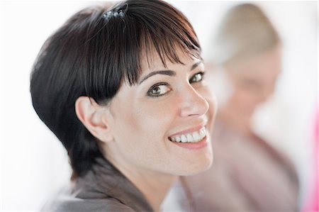 short hair - Close up of womans smiling face Stock Photo - Premium Royalty-Free, Code: 649-06432286