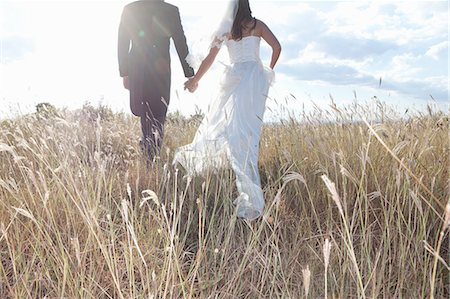 Newlywed couple holding hands in grass Stock Photo - Premium Royalty-Free, Code: 649-06432567