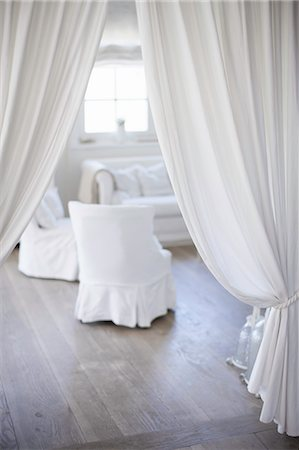 White curtains and armchairs Stock Photo - Premium Royalty-Free, Code: 649-06432601