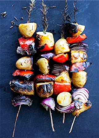 Grilled vegetable rosemary kebabs Stock Photo - Premium Royalty-Free, Code: 649-06432846