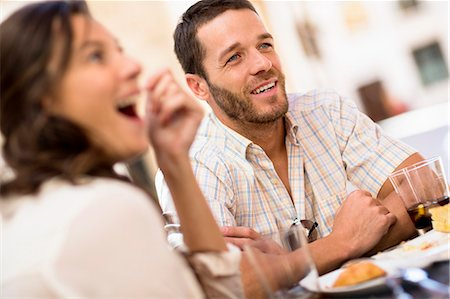 Friends talking at dinner Stock Photo - Premium Royalty-Free, Code: 649-06489216