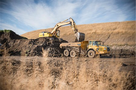 earth no people - Excavator working at surface coal mine Stock Photo - Premium Royalty-Free, Code: 649-06489582