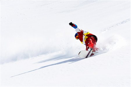 sports and snowboarding - Snowboarder on snowy slope Stock Photo - Premium Royalty-Free, Code: 649-06490043