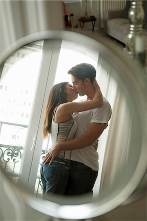 passion - Couple kissing in mirror Stock Photo - Premium Royalty-Free, Code: 649-06532538